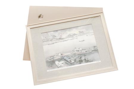 【台灣水彩畫大師-陳陽春】台南運河裝飾畫禮盒組╱橡木框