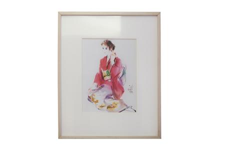 【台灣水彩畫大師-陳陽春】仕女裝飾畫禮盒組╱橡木框