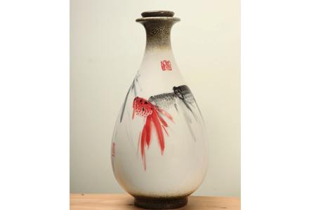 【國際陶藝大師莊桂珠彩瓷創作】手繪酒瓶