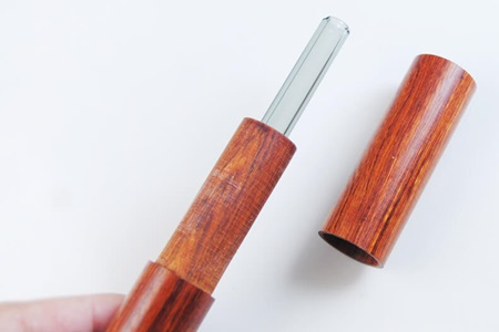 尖口無毒彩色玻璃吸管20cm+花梨木收納盒S/吸管色01.黑色