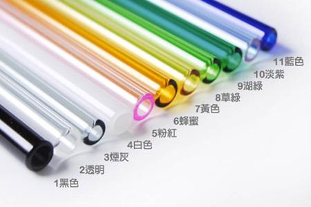 尖口無毒彩色玻璃吸管20cm+花梨木收納盒S/吸管色03.煙灰