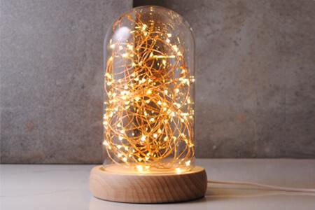 煙火實木玻璃燈22cm(客製雕刻文字)