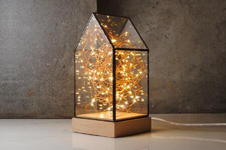 小房子實木玻璃燈23cm(客製雕刻文字)