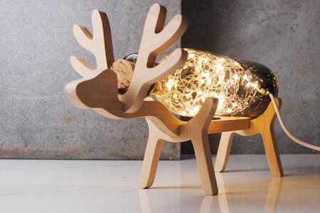 麋鹿實木玻璃燈29cm(客製雕刻文字)