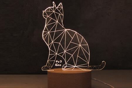 小貓實木玻璃燈20cm(客製雕刻文字)