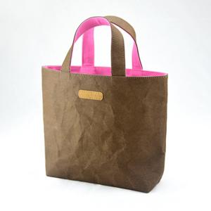 進口洗舊皮革紙撞色小托特包-巧克力色X淺粉紅色