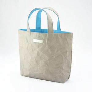 進口洗舊皮革紙撞色小托特包-淺灰色X淡天藍色