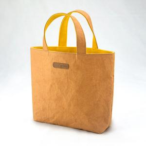 進口洗舊皮革紙撞色小托特包-橙色X黃色