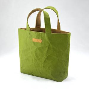 進口洗舊皮革紙撞色小托特包-青草綠X焦糖可可