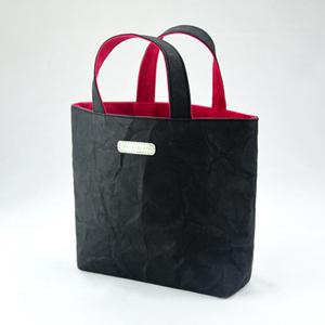 進口洗舊皮革紙撞色小托特包-黑色X紅色